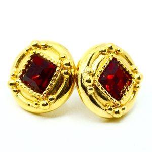 SWAROVSKI~ruby red crystal~14KT GOLD STUD EARRINGS